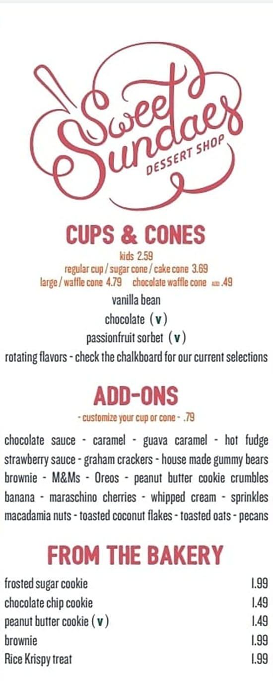 Sweet Sundaes Dessert Shop menu - cups, cones
