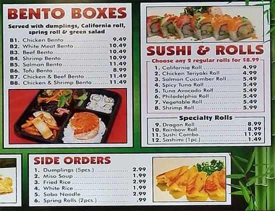 Teriyaki Boy menu - bento boxes, sushi, sides