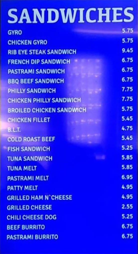 Atlantis Burgers menu - sandwiches