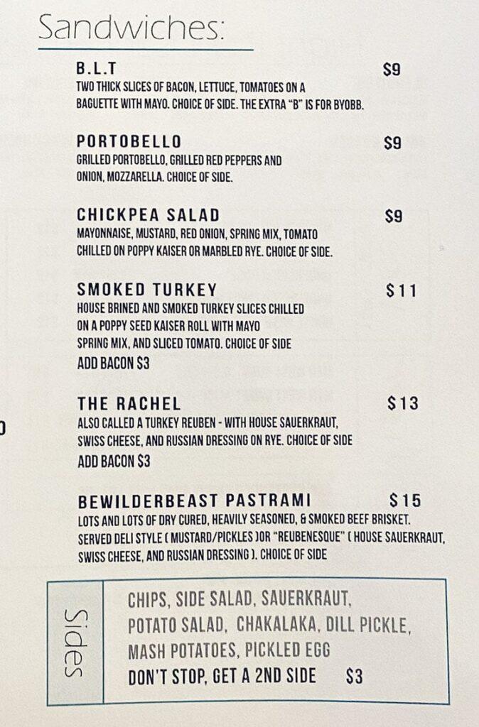 Bewilder Brewing menu - sandwiches, sides