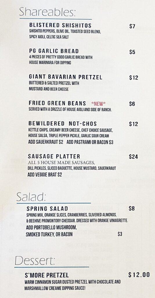 Bewilder Brewing menu - shareables, salad, dessert