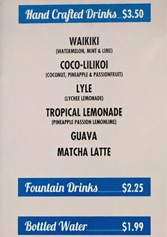 Bigeye Poke And Grill menu - drinks