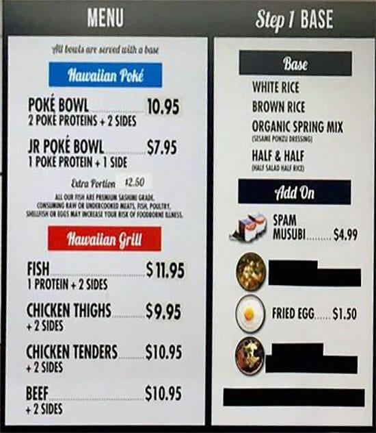 Bigeye Poke And Grill menu - step one