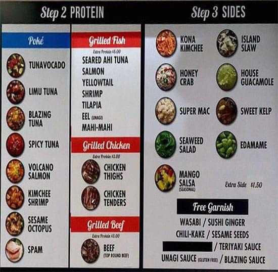 Bigeye Poke And Grill menu - step two and three