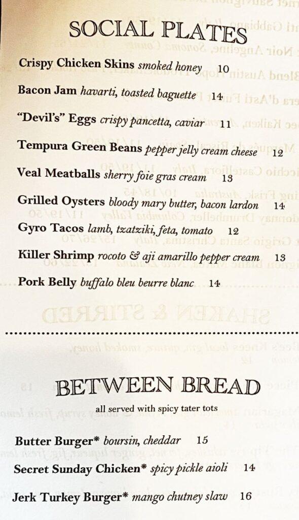 Carson Kitchen SLC menu - appetizers, sandwiches