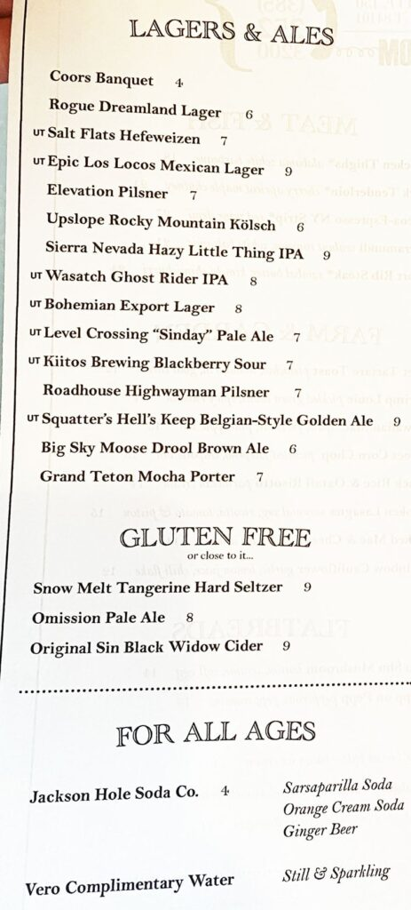 Carson Kitchen SLC menu - beer, beverages