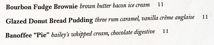 Carson Kitchen SLC menu - dessert