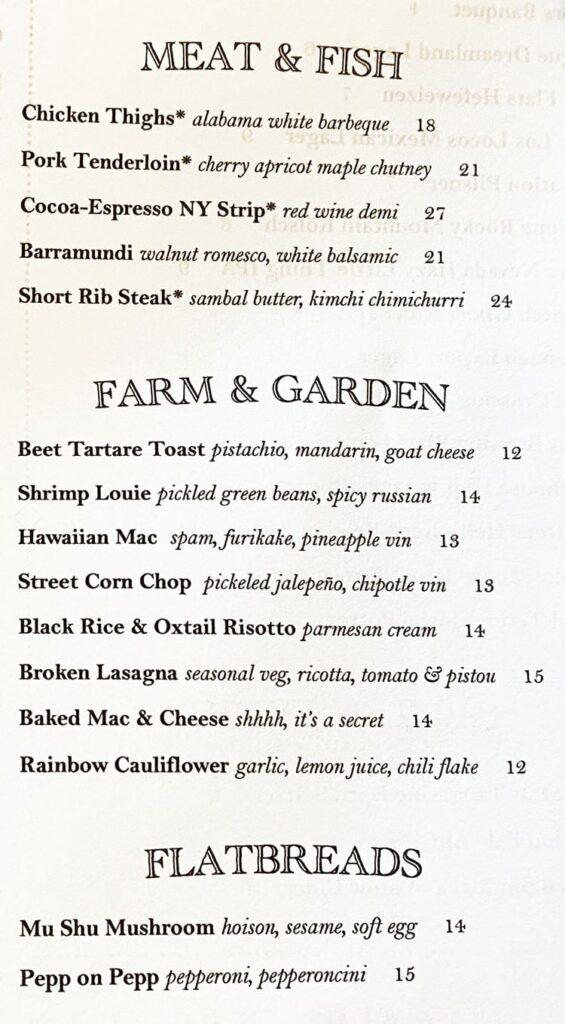 Carson Kitchen SLC menu - meat, fish, veggies, flatbread