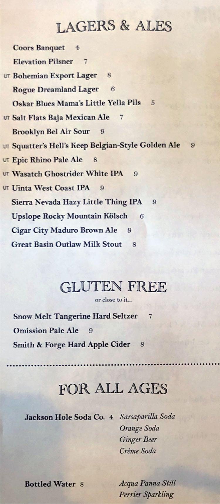 Carson Kitchen menu - beer, beverages