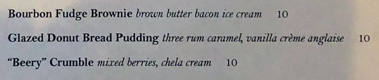 Carson Kitchen menu - dessert