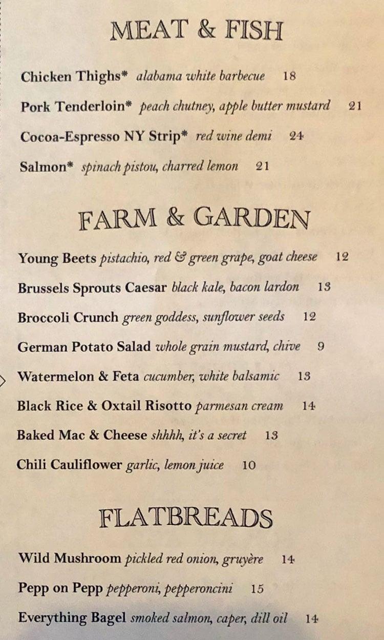 Carson Kitchen menu - meat, fish, veggies, flatbreads