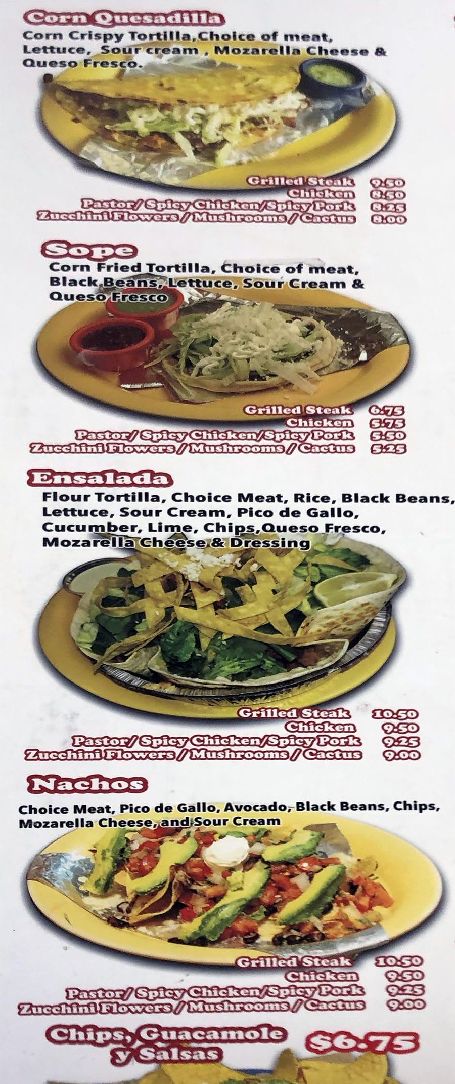 Chunga's menu - quesadilla, sope, ensalada, nachos, guacamole