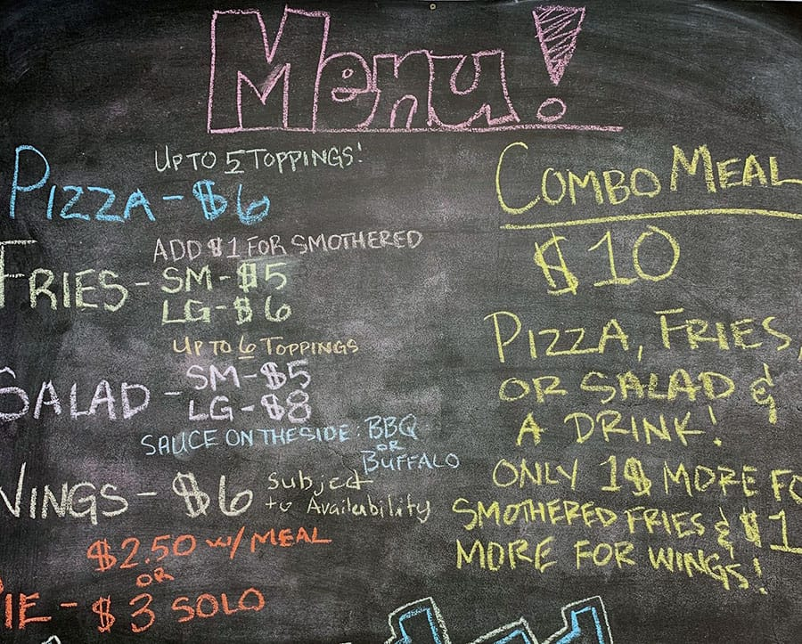 Fry And Pie menu - pizza, fries, combo, salad, wings