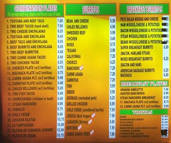 Gual Bertos menu - combo plates, burritos