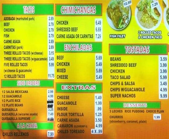 Gual Bertos menu - tacos, enchiladas, sides, extras, tostadas