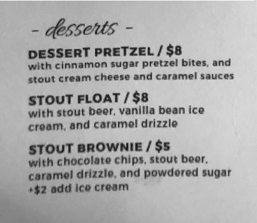 Hopkins Brewery menu - desserts