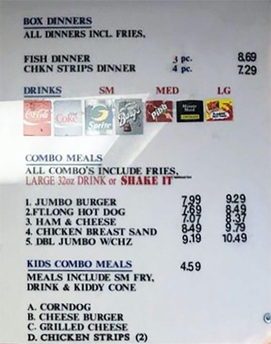 Iceberg Drive Inn menu - box dinners, combo meals