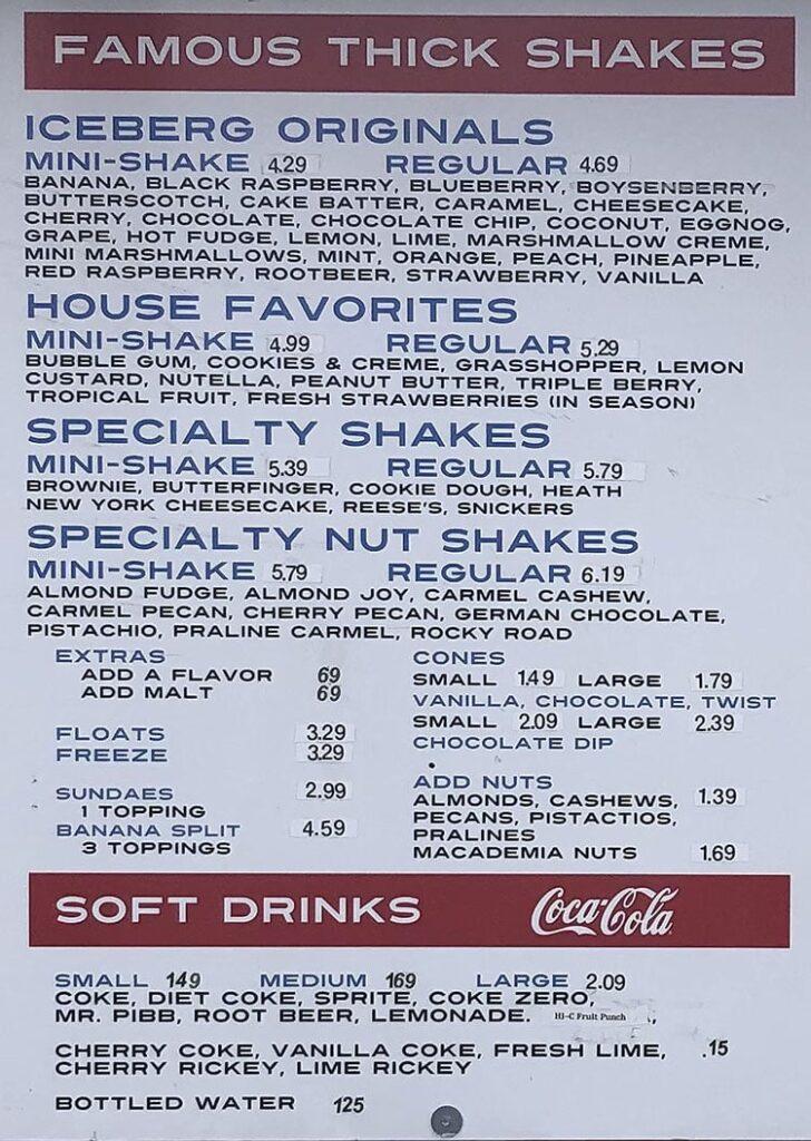 Iceberg Drive Inn menu - shakes