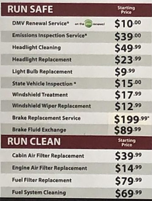 Jiffy Lube prices - run safe, run clean