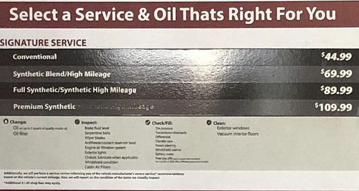Jiffy Lube prices - signature servcies