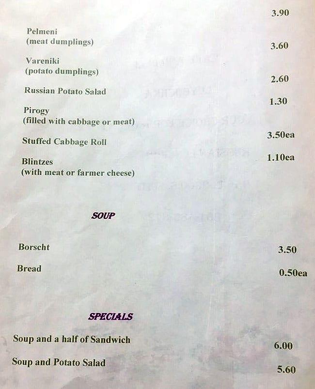 Luybochka menu - appertizers, soup, specials