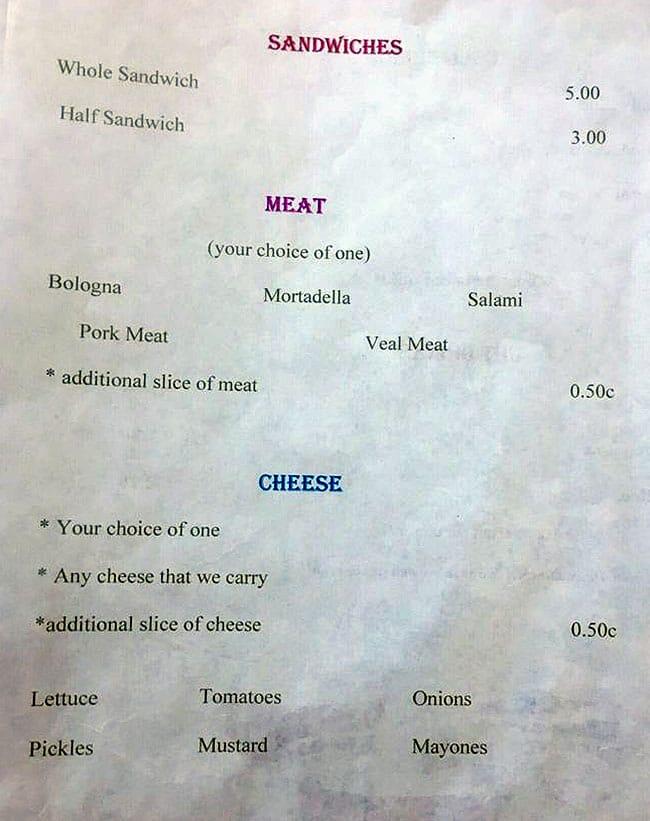 Luybochka menu - sandwiches, meat, cheese