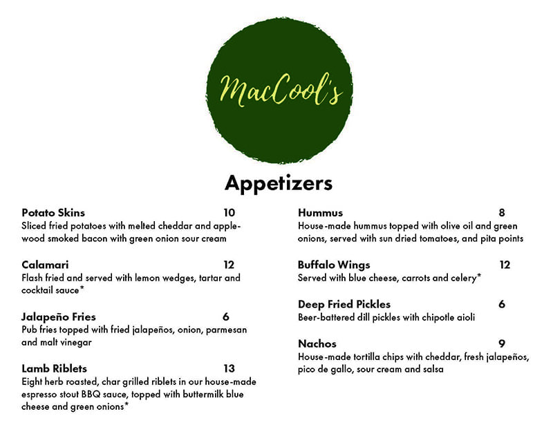 MacCool's Public House menu - appetizers