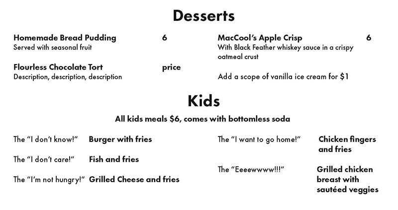 MacCool's Public House menu - desserts, kids