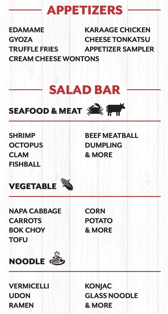 Mr Shabu menu - appetizers, salad bar