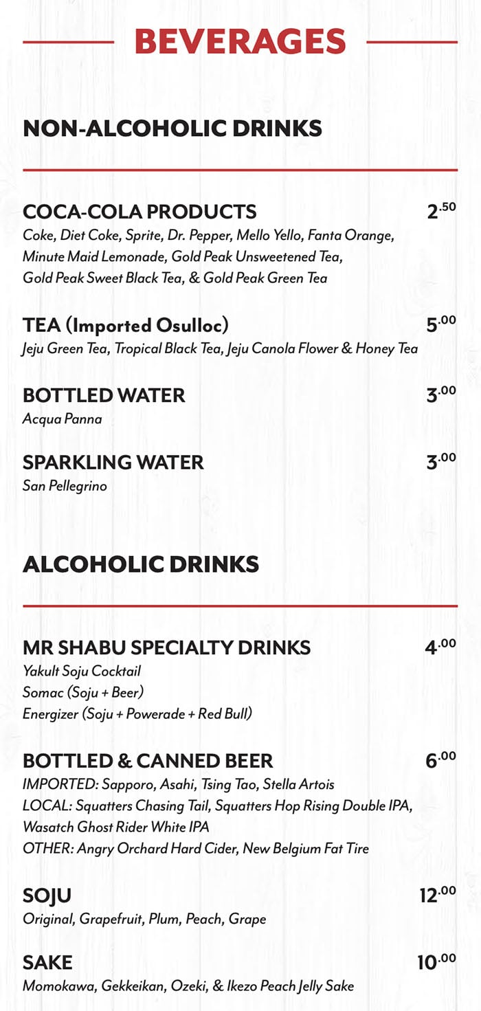 Mr Shabu menu - beverages