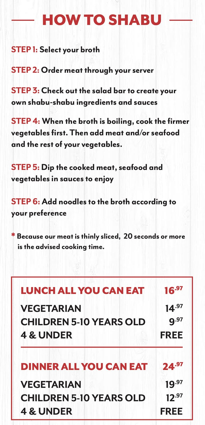 Mr Shabu menu - how to shabu