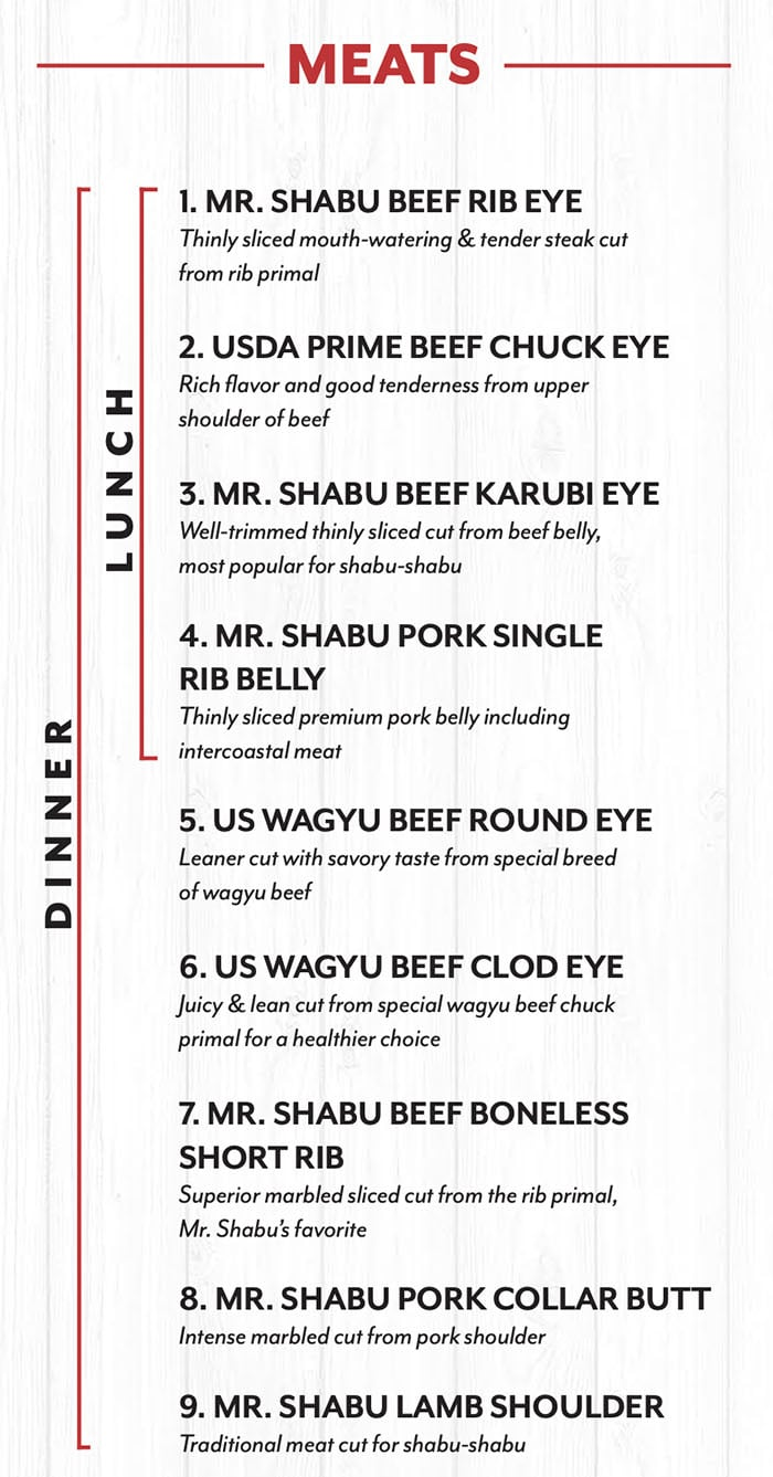 Mr Shabu menu - meats