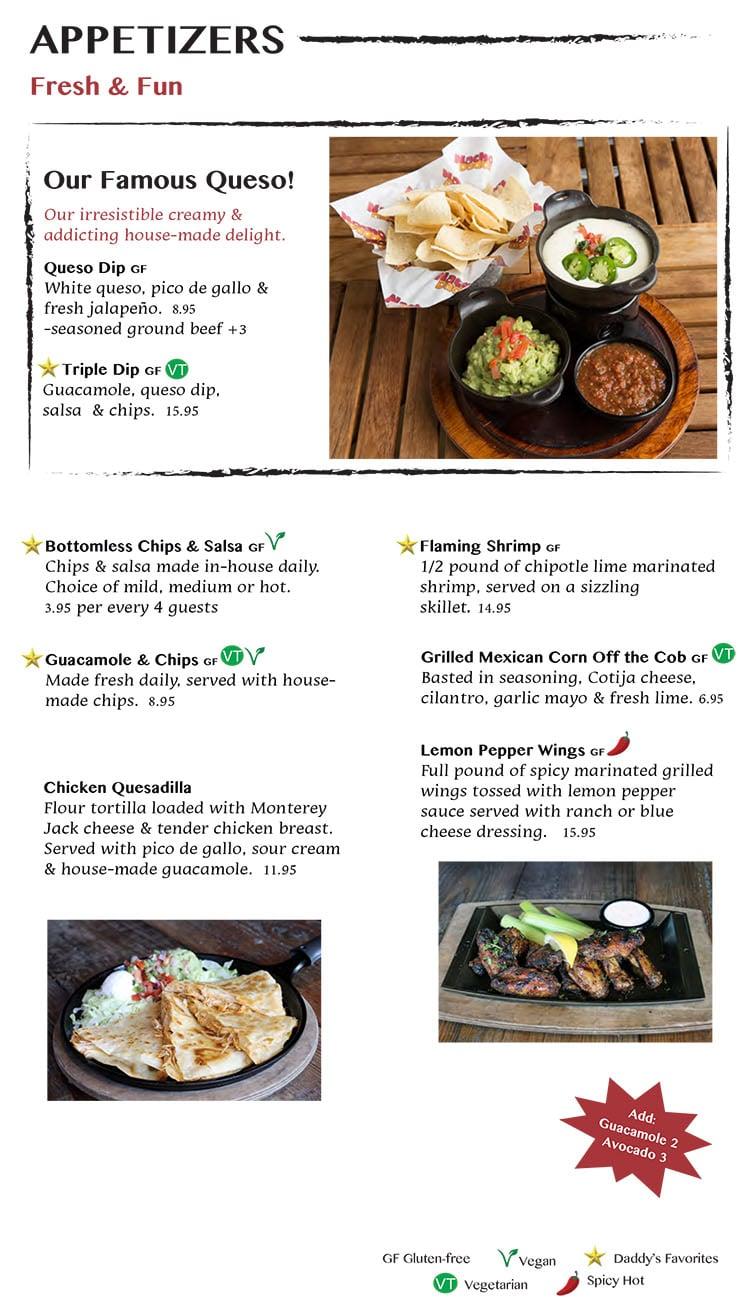 Nacho Daddy menu - appetizers