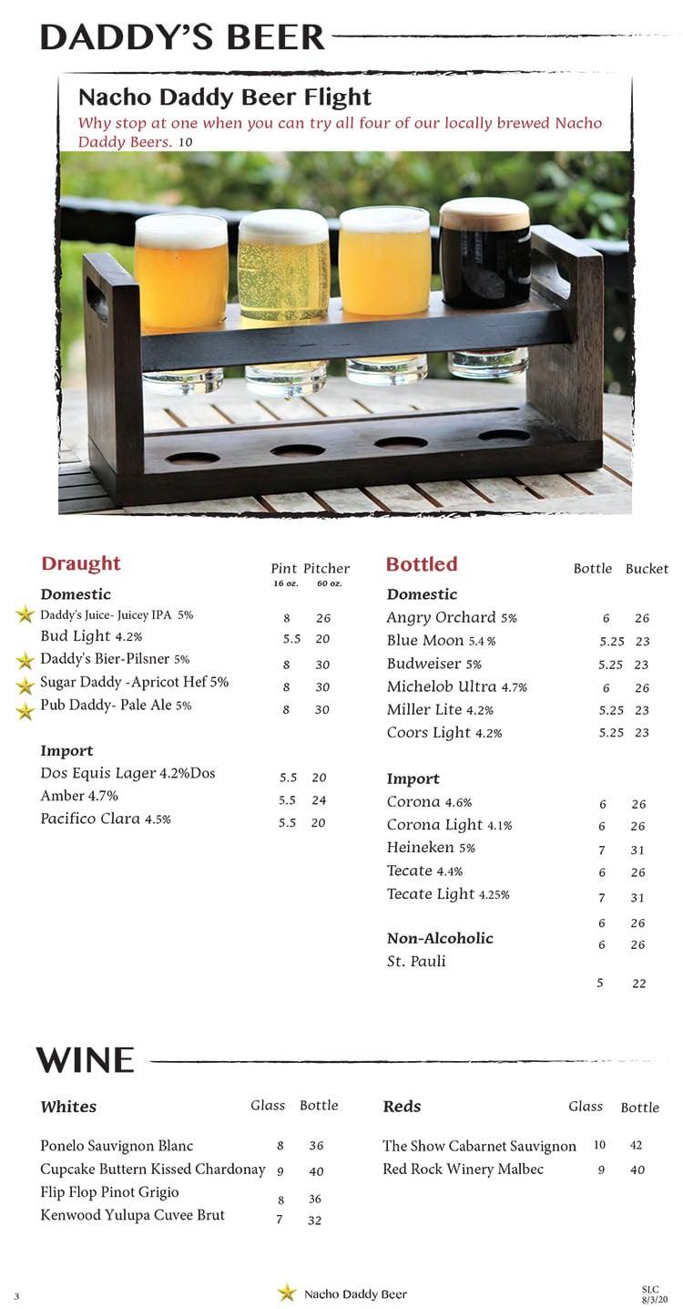 Nacho Daddy menu - beer, wine
