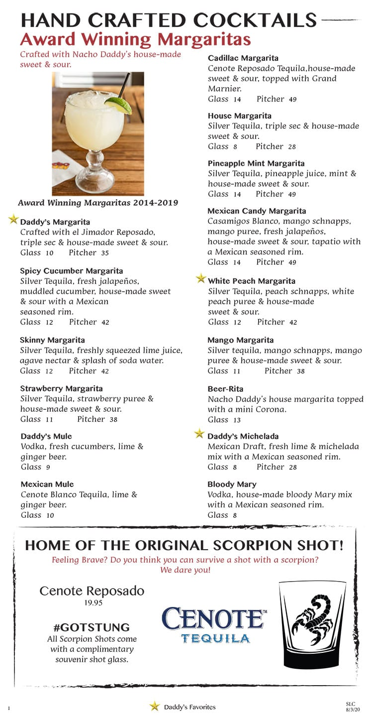 Nacho Daddy menu - cocktails