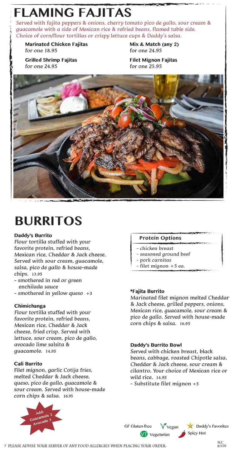 Nacho Daddy menu - flaming fajitas, burritos