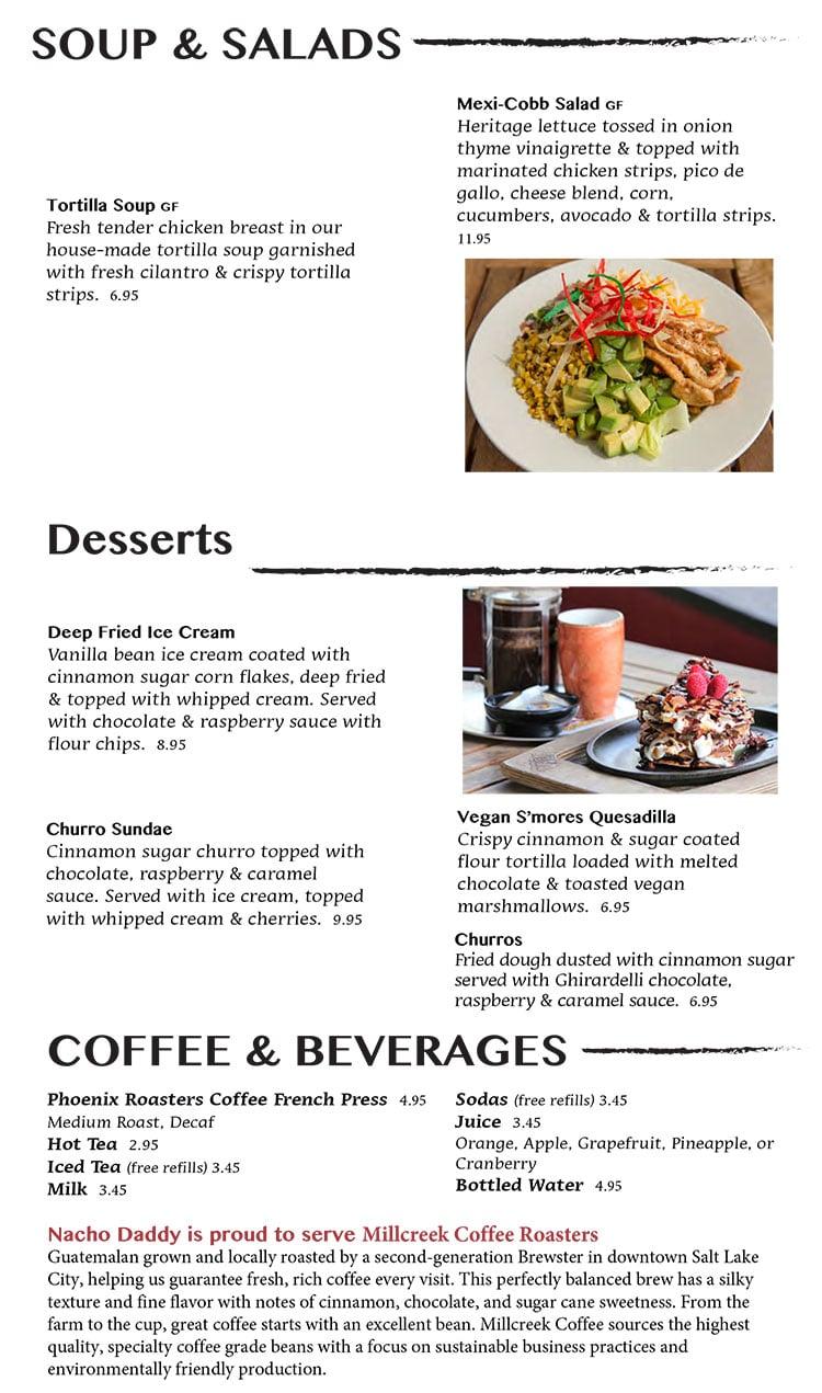 Nacho Daddy menu - soup, salad, dessert, coffee