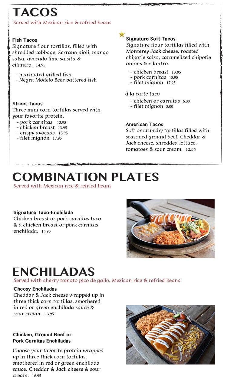 Nacho Daddy menu - tacos, combos, enchiladas