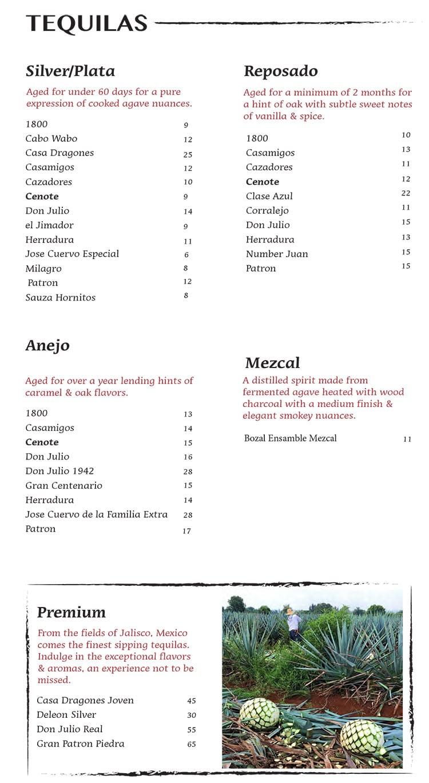 Nacho Daddy menu - tequila