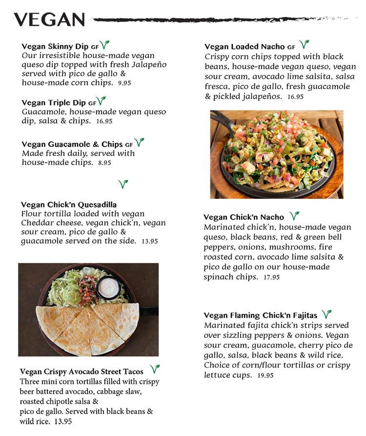 Nacho Daddy menu - vegan