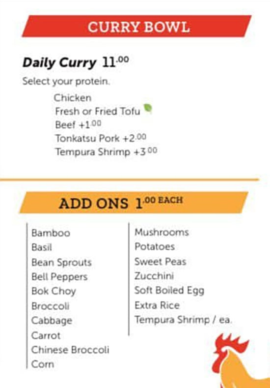 Noodle Run menu - curry bowl, add ons