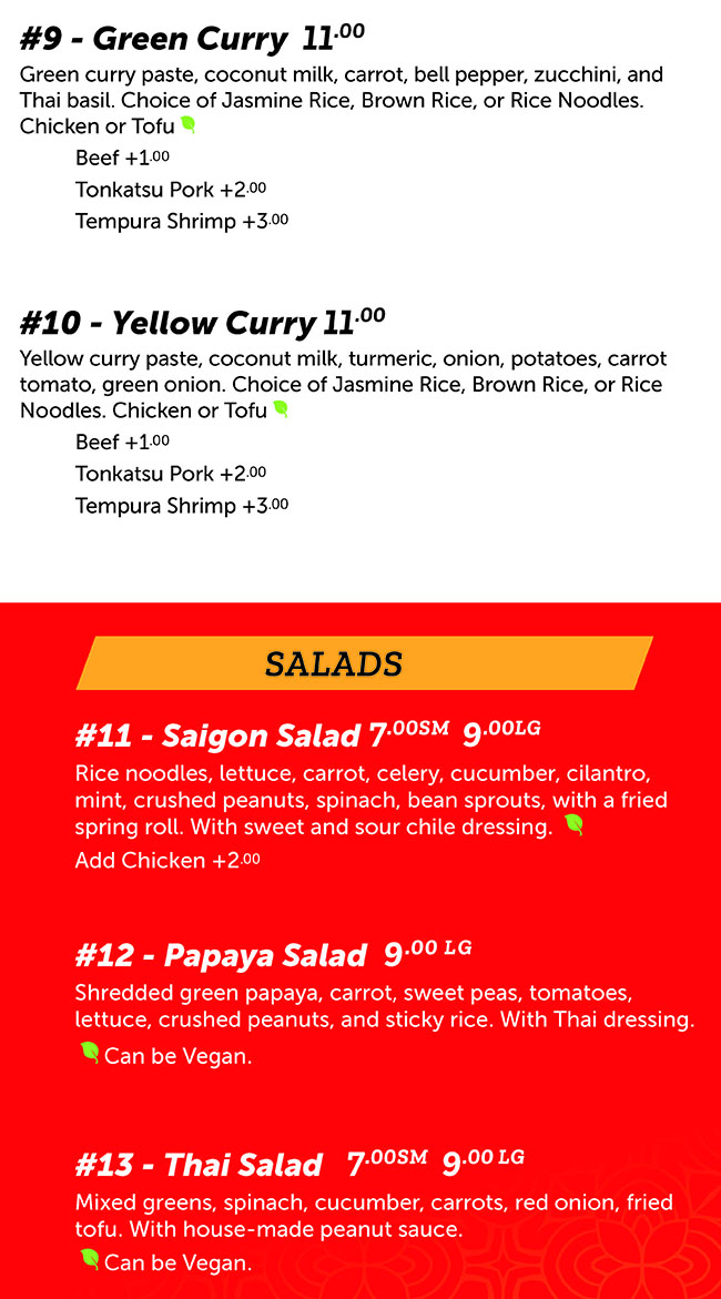 Noodle Run menu - curry, salads