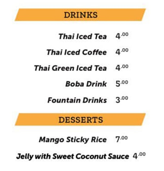 Noodle Run menu - drinks
