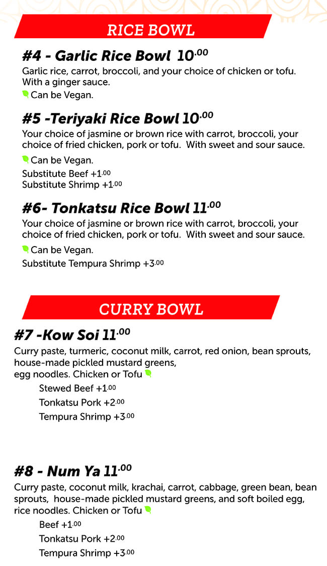 Noodle Run menu - rice bowl, curry bowl