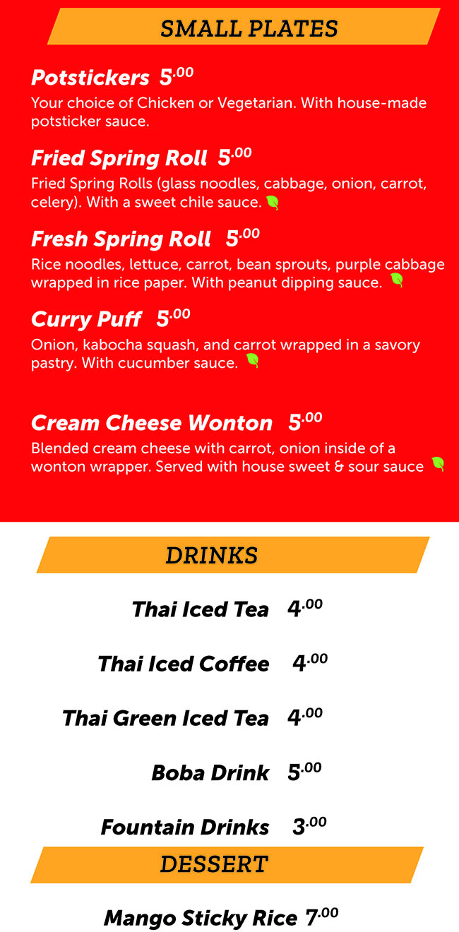 Noodle Run menu - small plates, drinks