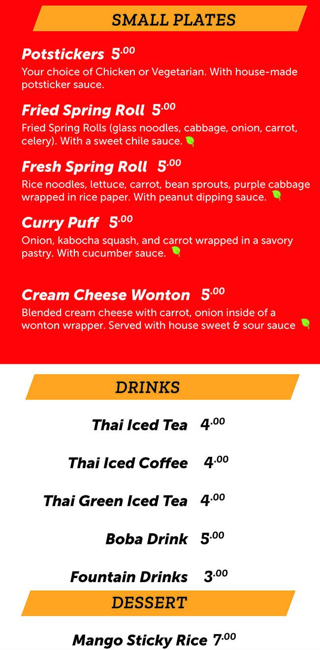 Noodle Run menu - small plates, drinks