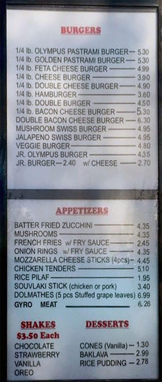 Olympus Burger menu - burgers, appetizers