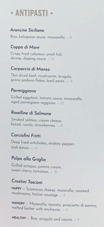 Osteria Amore menu - antipasti