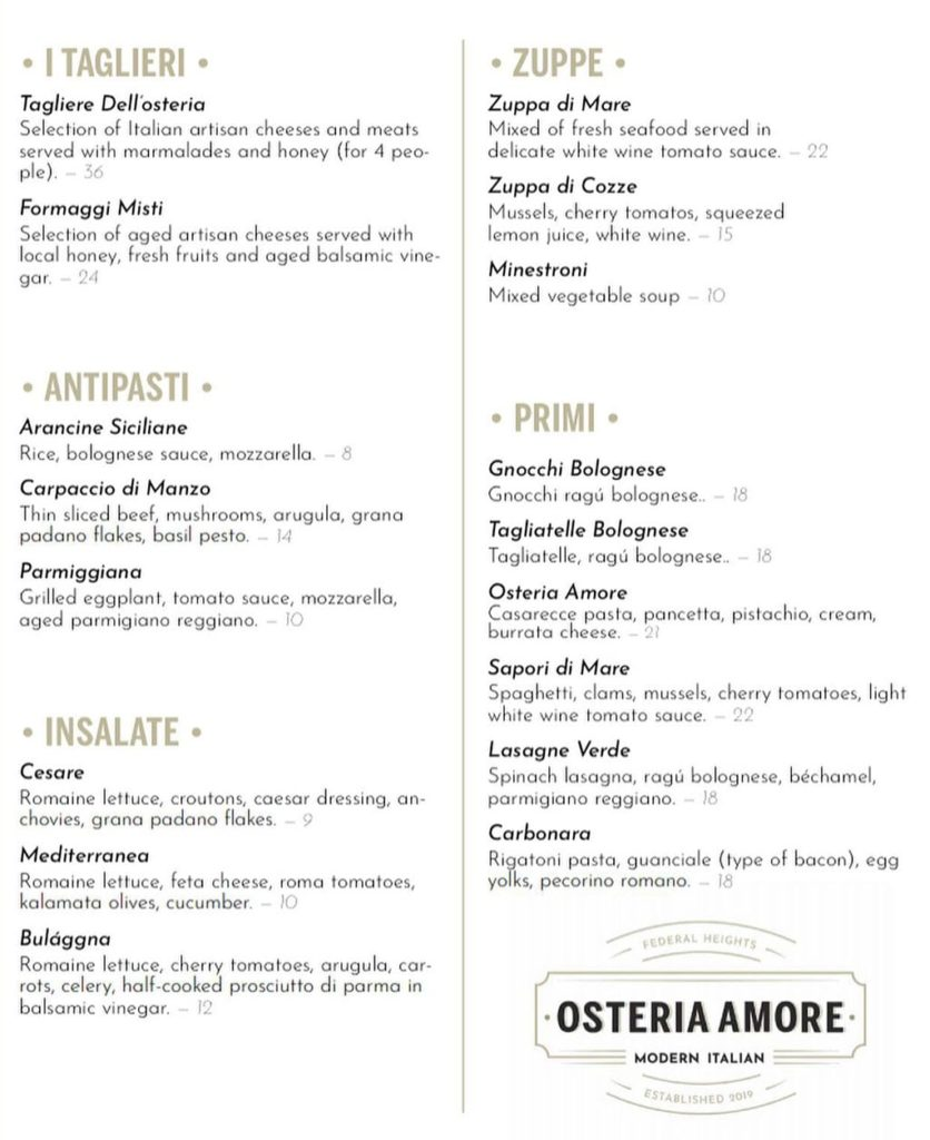 Osteria Amore menu - delivery and curbside