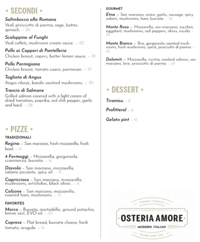 Osteria Amore menu - delivery and curbside continued